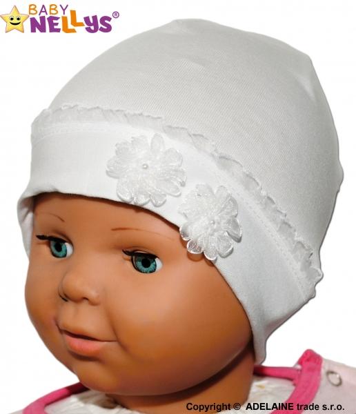 Bavlnená čiapočka kytička s čipkou Baby Nellys ® - biela-38/42 čepičky obvod