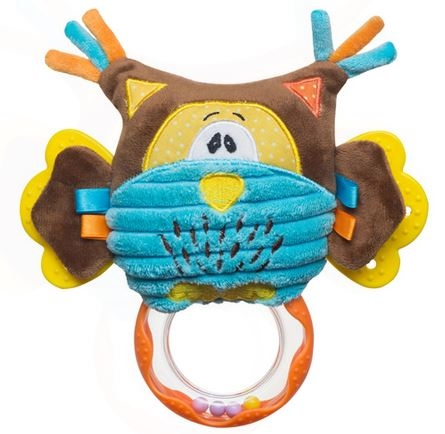 Edukačná hračka s hrkálkou a hryzátkom - Sova