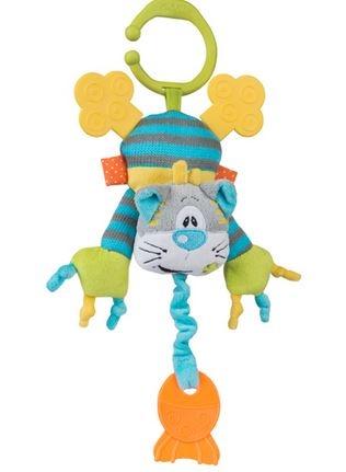 Edukačná hračka s hrkálkou, hryzátkom a fibrací - Mačička