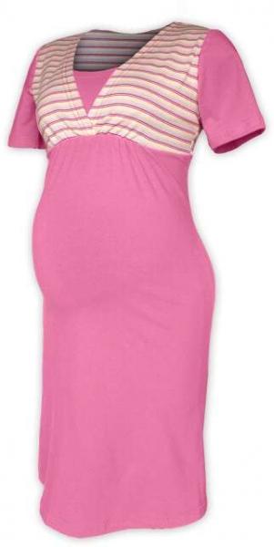 Tehotenská dojčiaca nočná košeľa - ružová/ružový prúžok