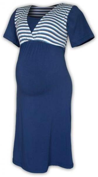 Tehotenská dojčiaca nočná košeľa - jeans/námornický prúžok