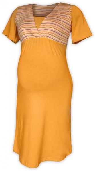 Tehotenská dojčiaca nočná košeľa - sv.oranž/oranž prúžok