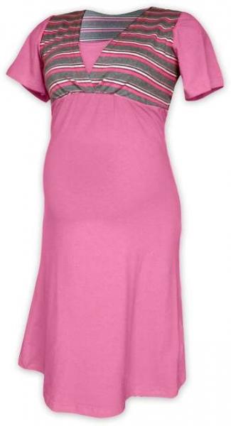 Tehotenská dojčiaca nočná košeľa - ružová/šedý prúžok
