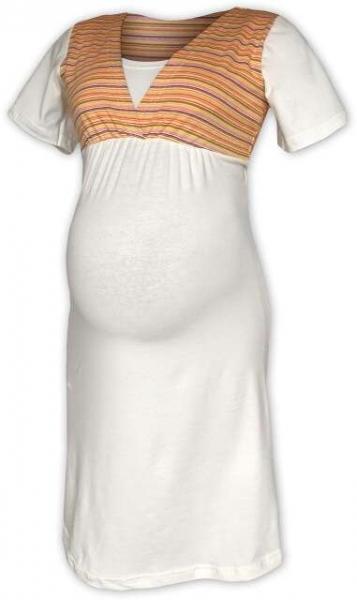 Tehotenská dojčiaca nočná košeľa - smetanová/oranž prúžok
