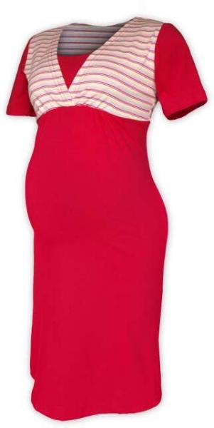 Tehotenská dojčiaca nočná košeľa - sýta ružová/ružový prúžok