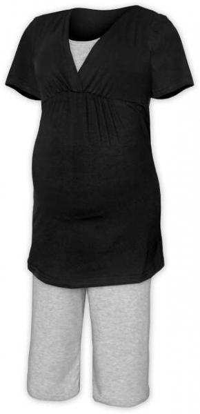 Tehotenské dojčiace pyžamo - čierna/šedý melír