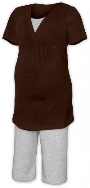 Tehotenské dojčiace pyžamo - čokohnedá/šedý melír