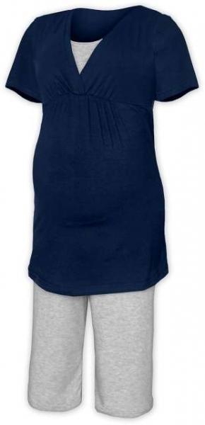 Tehotenské dojčiace pyžamo - jeans/šedý melír