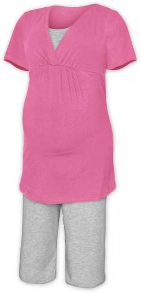 Tehotenské dojčiace pyžamo - ružová/šedý melír