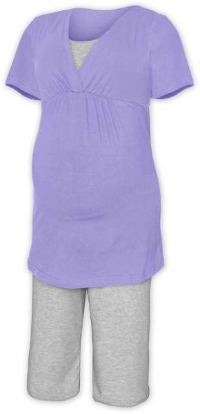 Tehotenská-dojčiace pyžamo - orgovánová / sivý melír