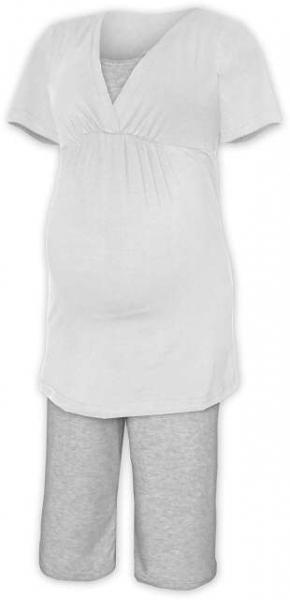Tehotenské dojčiace pyžamo - smetanová/šedý melír
