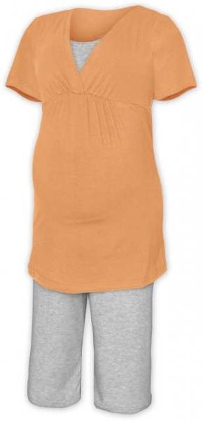 Tehotenské dojčiace pyžamo - sv.oranž/šedý melír