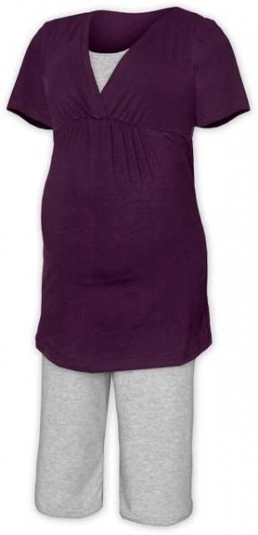 Tehotenské dojčiace pyžamo - švestka/šedý melír