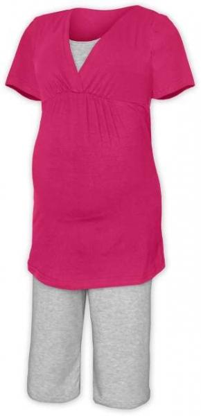 Tehotenská-dojčiace pyžamo - sýto ružová / sivý melír