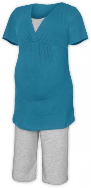 Tehotenské dojčiace pyžamo - petrolejová/šedý melír