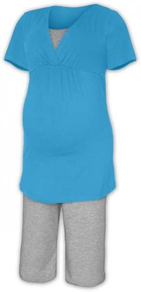 Tehotenské dojčiace pyžamo - tyrkys/šedý melír