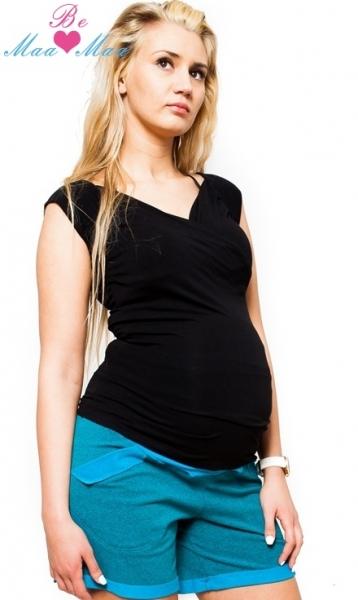 Be MaaMaa Tehotenské kraťasy Bria - tyrkysovo zelenkavý melírek