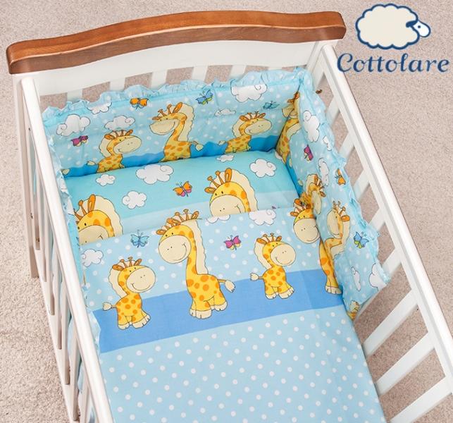 Mantinel s obliečkami Cottolare - Čarovné žirafky - modré