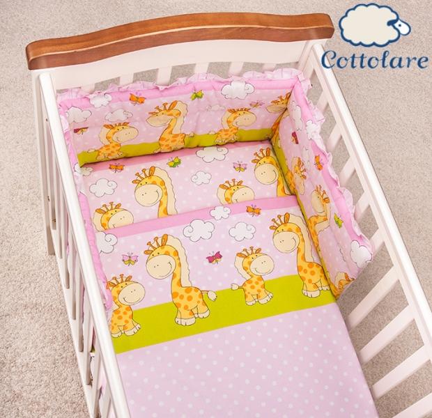 Mantinel s obliečkami Cottolare - Čarovné žirafky - ružové s zelenú