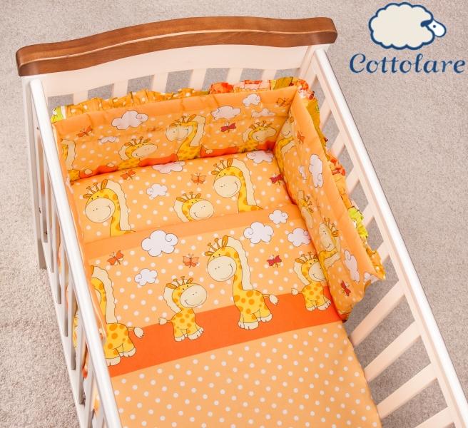Mantinel s obliečkami Cottolare - Čarovné žirafky - pomarančovej