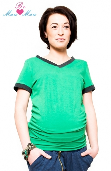 Tehotenské tričko krátky rukáv EVVA - zelené