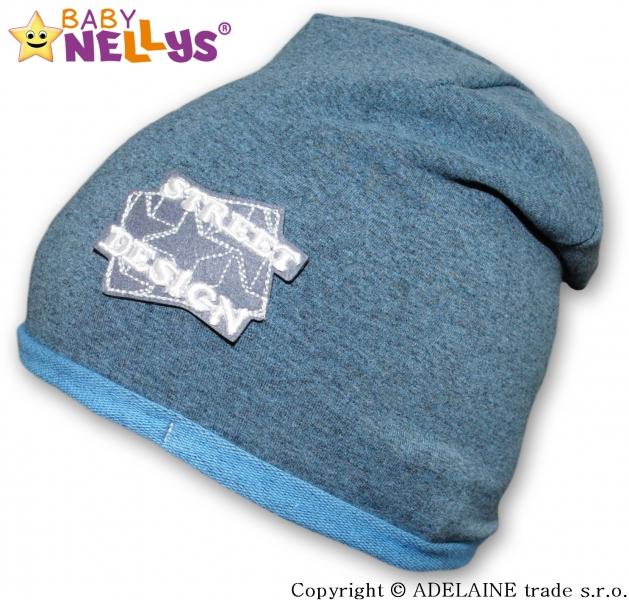 Bavlnená čiapočka Street Baby Nellys ® - tm.modré melír