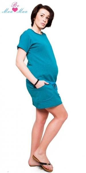 Tehotenské šaty ESTELLE - morský tyrkys - melírek