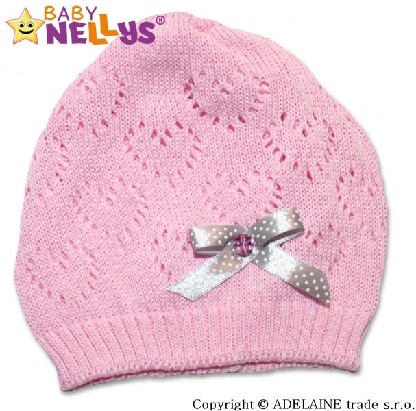 Háčkovaná čiapočka Mašlička Baby Nellys ® - sv. ružová-44/52 čepička obvod