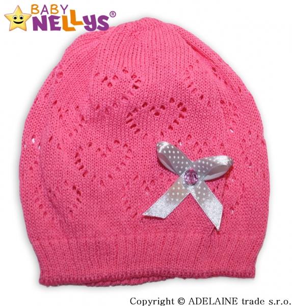 Háčkovaná čiapočka Mašlička Baby Nellys ® - tm. ružová-#Velikost koj. oblečení;44/52 čepička obvod