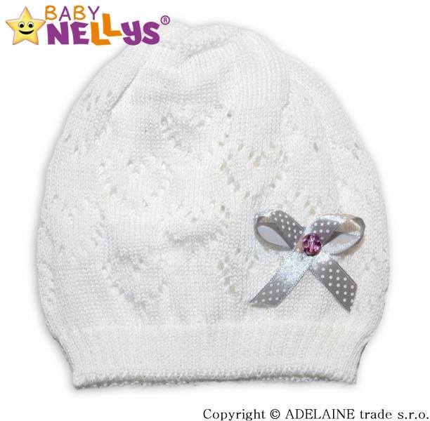 Háčkovaná čiapočka Mašlička Baby Nellys ® - biela-44/52 čepička obvod