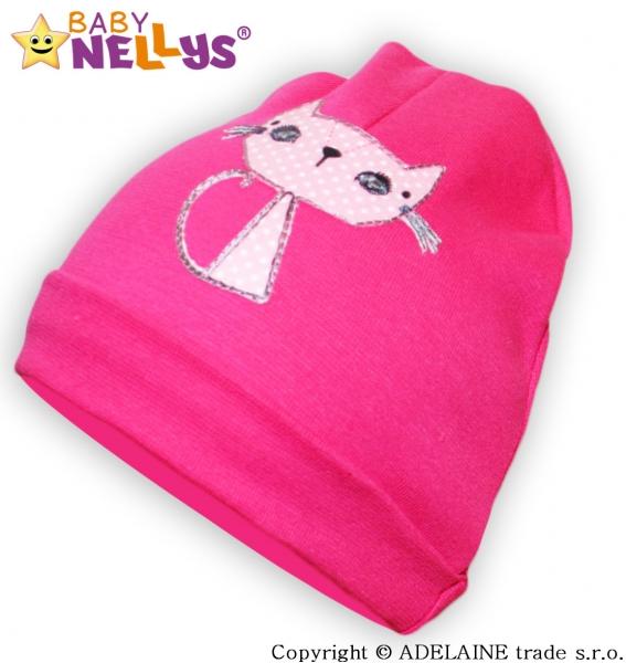 Bavlnená čiapočka Baby Nellys ® - sýto ružová s mačičkou