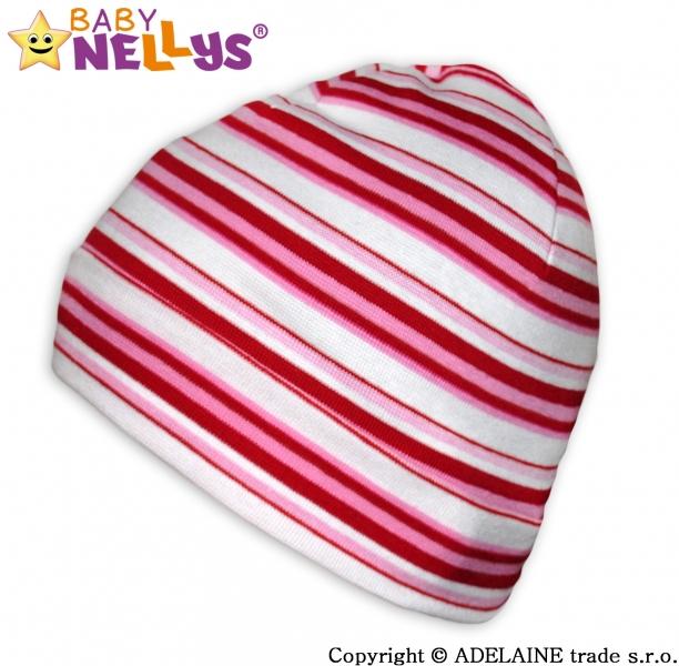 Bavlnená čiapočka Baby Nellys ® - Veselé pruhy červená / ružová / biela-42/54 čepička obvod