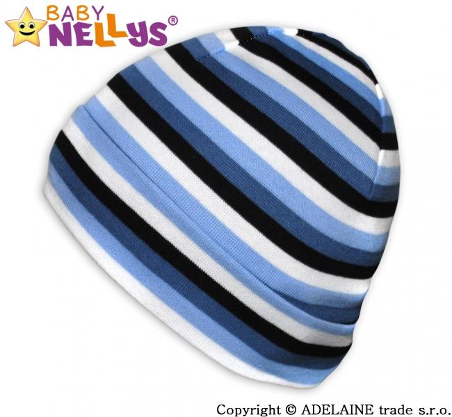 Bavlnená čiapočka Baby Nellys ® - Veselé pruhy modré / čierne / biela