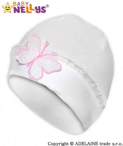 Bavlnená čiapočka s Motýľkom as čipkou Baby Nellys ® - biela-38/44 čepičky  obvod