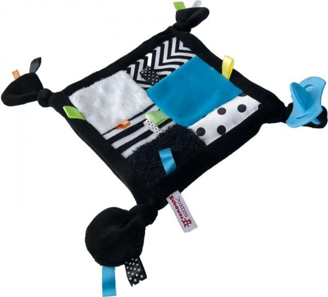 Roztomilý mazlík s hryzátkom - modrá kostička