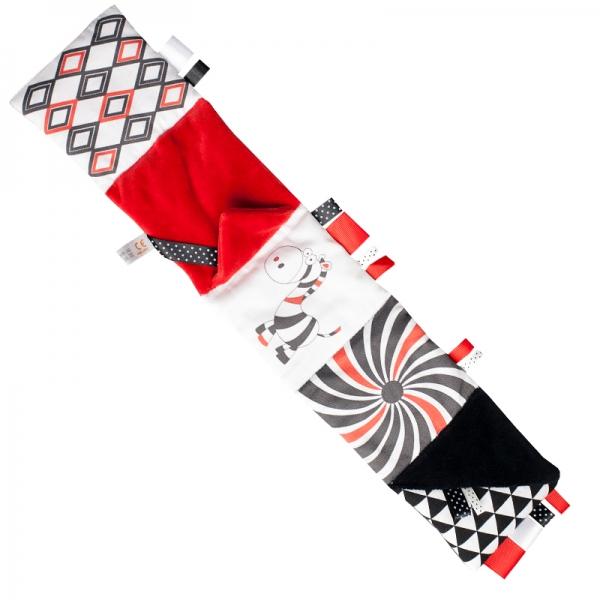 Malá textilná knižka MINI - čiernočervená