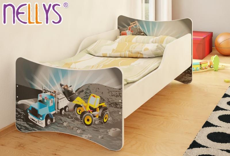 Detská posteľ Bager a nákladiak, 140x70