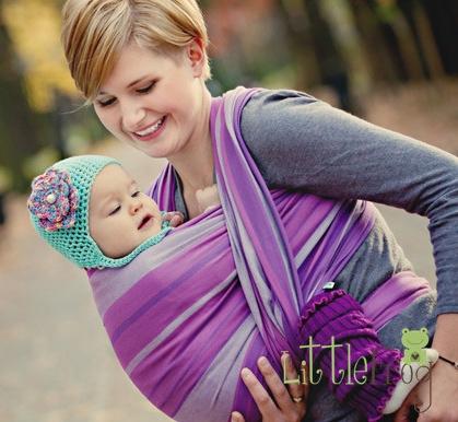 Little FROG Tkaný šatka na nosenie detí - AMETYST