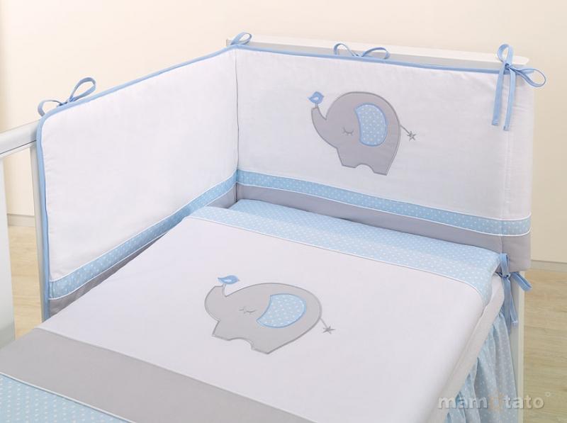 Mantinel s obliečkami LUX - SLON modrý / sivý