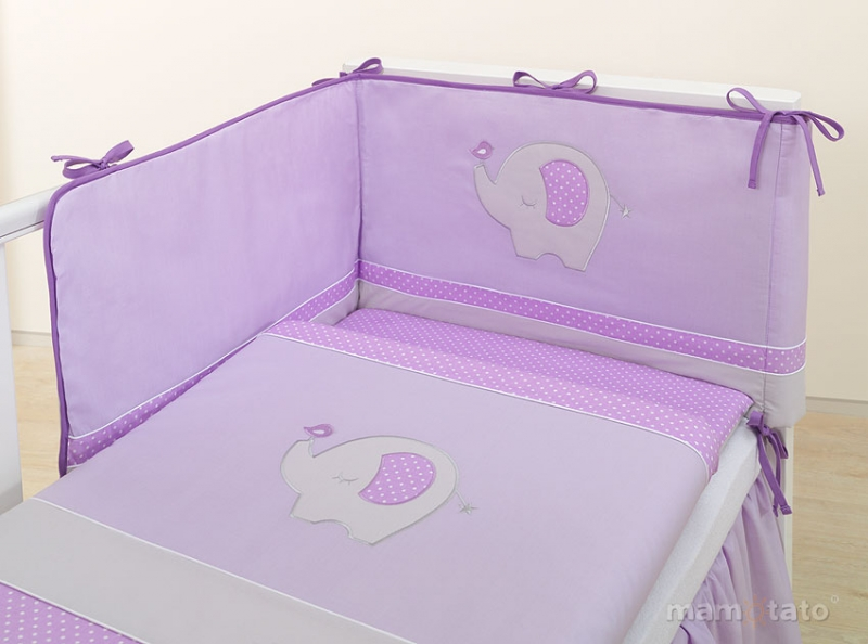 Mantinel s obliečkami LUX - SLON fialový