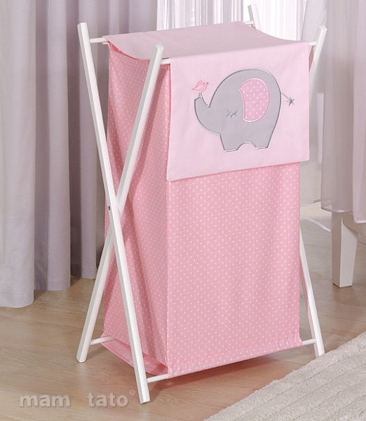 Praktický kôš na bielizeň SLON - ružový