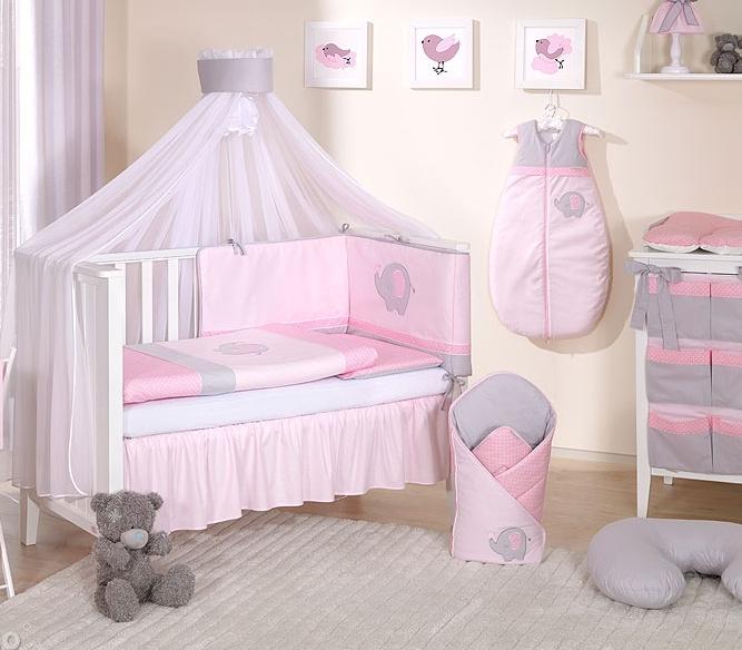 Mamo Tato Mega set s moskytiérou LUX SLON - ružový