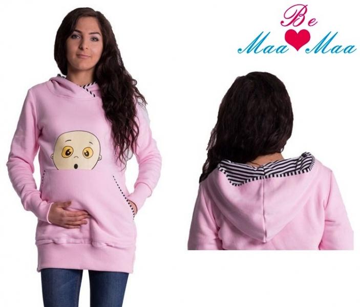 Tehotenská mikina s kapucňou Beba - sv. ružová