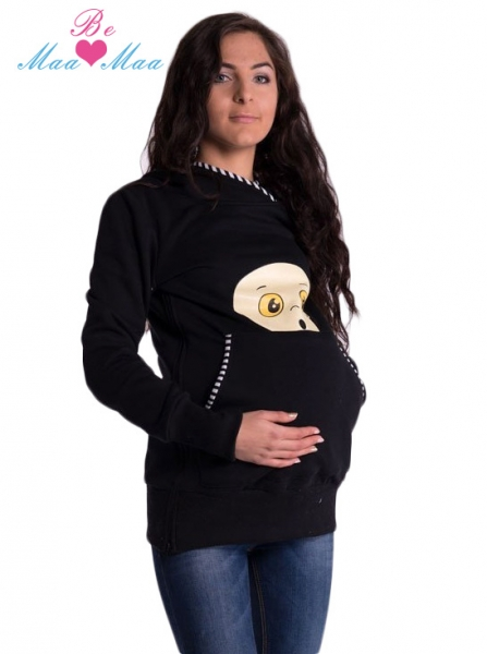 Tehotenská mikina s kapucňou Beba - čierna