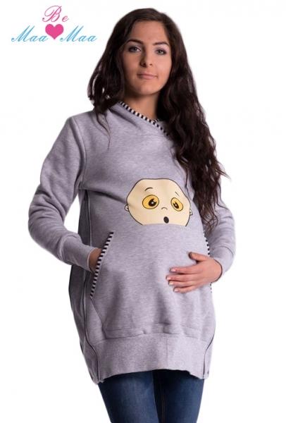 Tehotenská mikina s kapucňou Beba - šedý melír