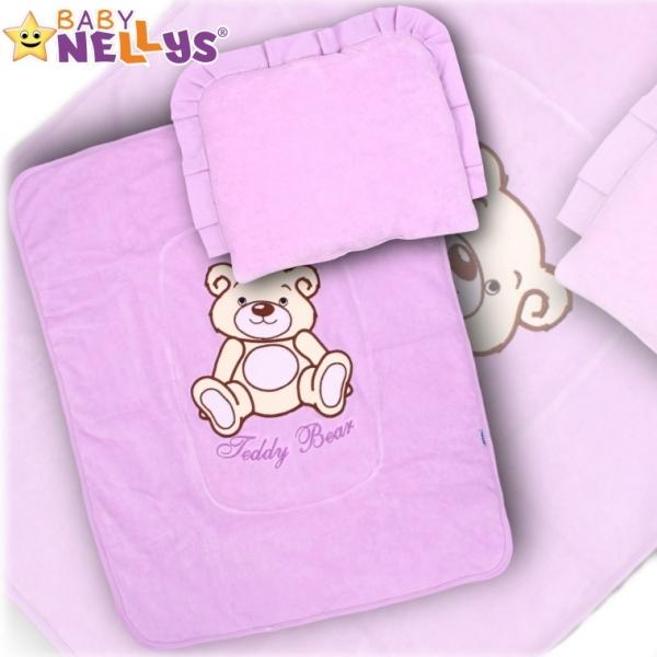 Sada do kočíka Medvedík Teddy Baby Nellys - fialová
