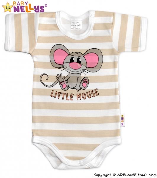 Body Kr. rukáv Baby Nellys®- Little Mouse - béžový prúžok