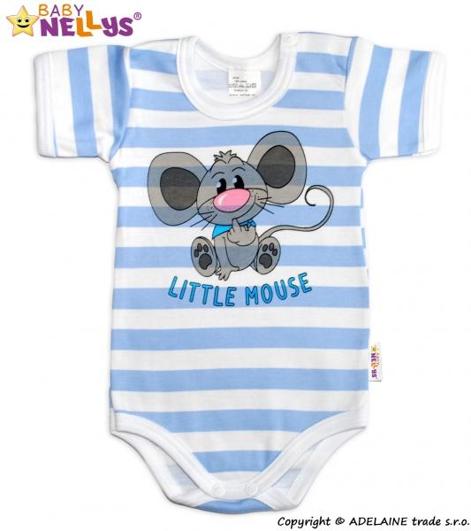 Body Kr. rukáv Baby Nellys®- Little Mouse - modrý prúžok