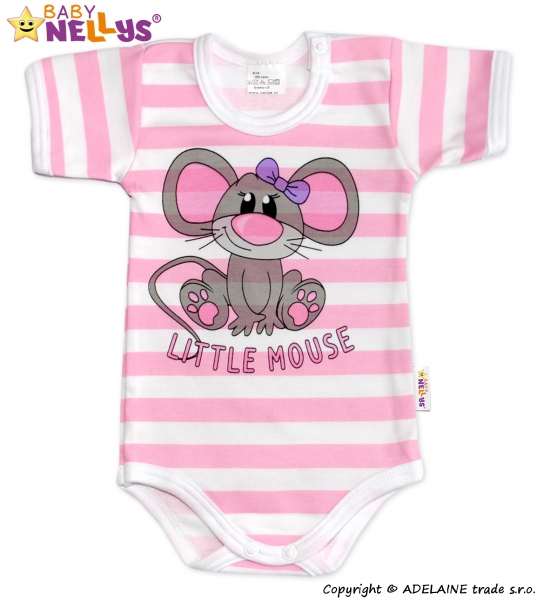 Body Kr. rukáv Baby Nellys®- Little Mouse - ružový prúžok
