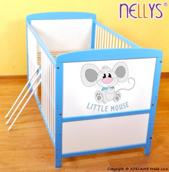 Drevená postieľka 2 v 1 Nellys LITTLE MOUSE - modrá / biela, 120x60